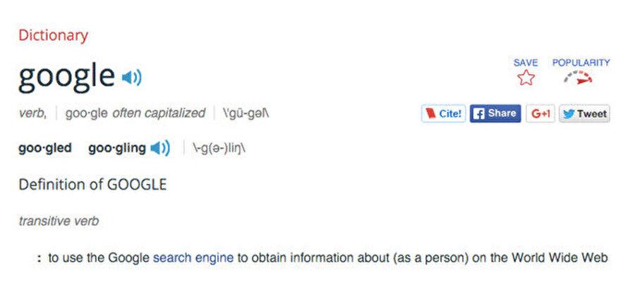 Google kelimesi 'İnternette Arama' terimine karşılık hale geldi. Haziran'da Merriam-Webster sözlüğüne Google fiili de eklendi.