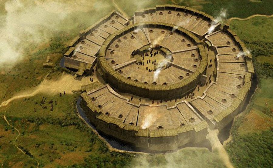 Kazak steplerindeki Arkaim şehri, milattan önce / 17. yüzyıl (Rusya)                                                                                                                                                                                          M.Ö 2000 yılına kadar giden bir geçmişe sahip olan yerleşkenin şekli Atlantis'e benziyor. Bazı kaynaklarda ise M.Ö. 20. yüzyılla kadar uzandığı ve Tunç Çağından günümüze geldiği belirtiliyor.