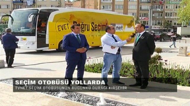 TVNET ve Yeni Şafak seçim otobüsü Kırşehirde