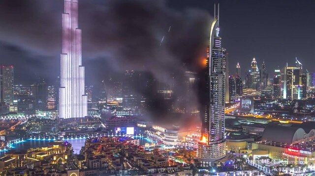 Dubaide yanan otelin Timelapse görüntüleri