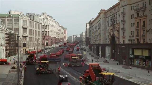 Moskovadaki muazzam yol yapım çalışması
