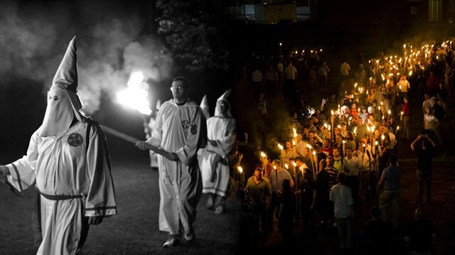 Amerika'daki ırkçılardan korkutan örgüt Ku Klux Klan ritüeli