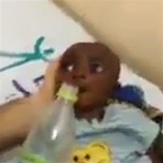 Susuzluktan ölmek üzere olan bebeğin suya kavuşma anı
