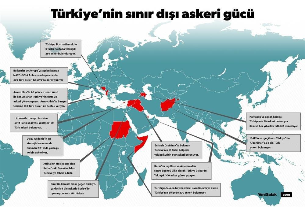 Türkiye'nin sınır dışında askeri üs ve misyonu bulunan ülkeler. (Görsel editör: Tunç Çevik)