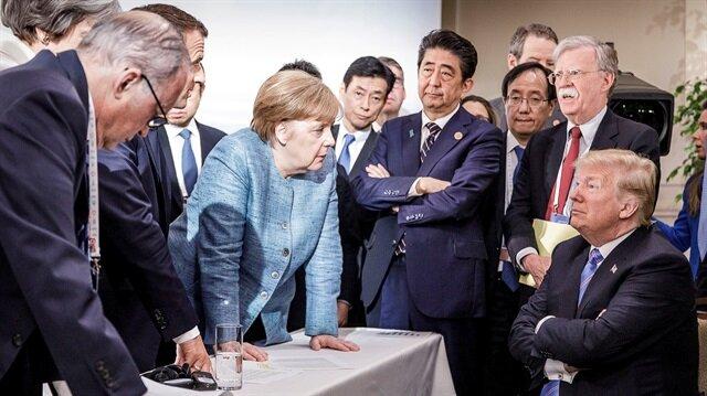 G- 7 zirvesinde yaşananları özetleyen fotoğraf