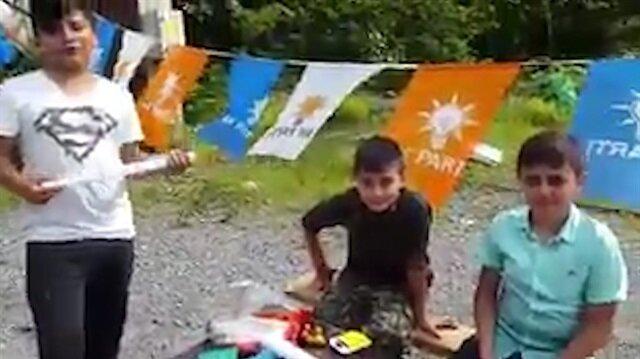 Rizeli küçük çocuklar kendi imkanlarıyla AK Partiye oy topluyor