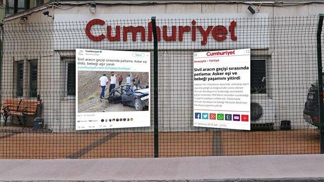 Cumhuriyet gazetesinden skandal paylaşım