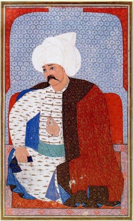 Yavuz Sultan Selim'i tasvir eden bir minyatür.