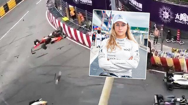Formula yarışında kadın pilot pistten uçtu