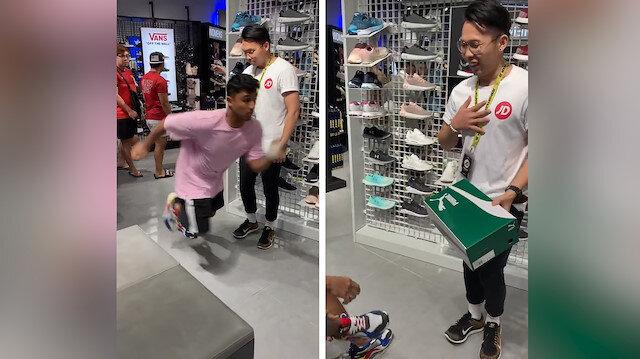 Ayakkabıyı koşarak deneme numarasıyla satıcının aklını aldı