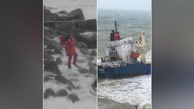 Şile'de gemi kıyıya oturdu: 16 kişilik mürettebat tahliye edildi