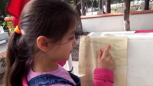 Okuma yazma öğrendi şehit babasına mektup yazdı