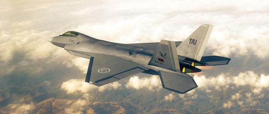 Türkiye'nin Milli Muharip Uçağı'nın tasarımını gösteren bir fotoğraf.
