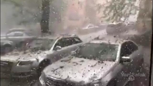 Romanyada dolu araçları parçaladı