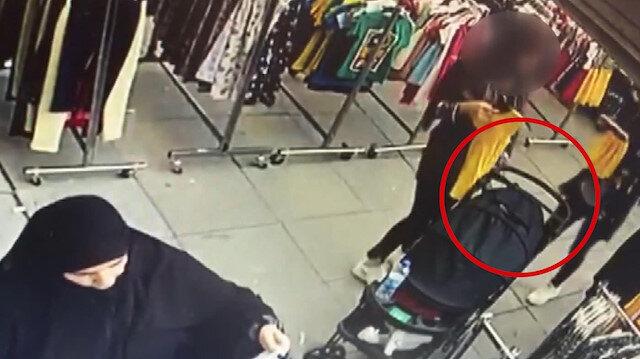 Bebek arabasındaki çantayı böyle çaldılar