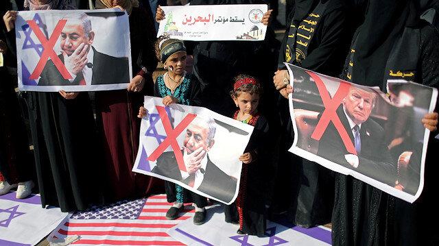 Bahreyn'deki ihanet konferansına bölge halkı tepkili: Filistin'e asla hizmet etmez!