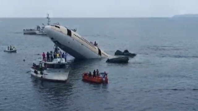 Saroz'a batırılan dev uçaktan ilk görüntüler geldi