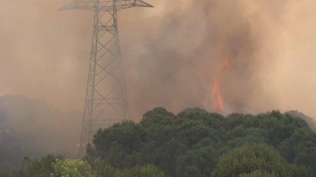 Hasdalda askeri bölge yakınında yangın