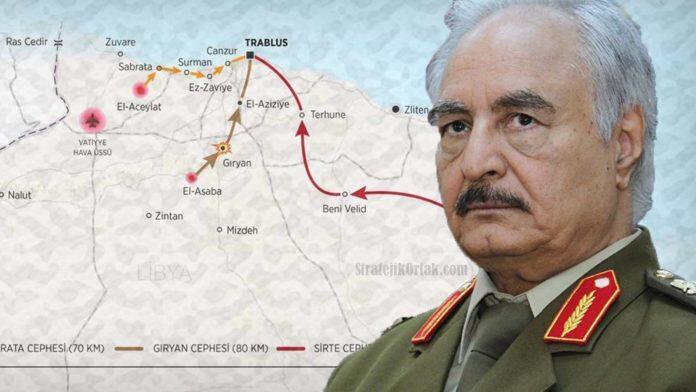 General Hafter'a bağlı güçler, başkent Trablus'un yönetimini ele alabilmek için saldırılara devam ediyor.