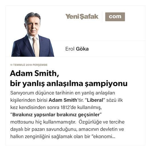 Adam Smith, bir yanlış anlaşılma şampiyonu
