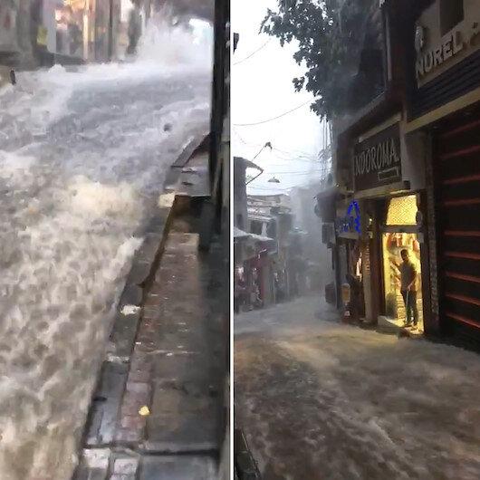 Sağanak yağışın boyutu vatandaşın kamerasına yansıdı