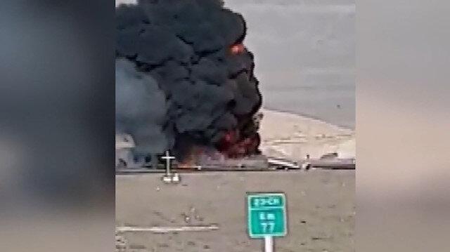 Kaza yapan akaryakıt tankeri bomba gibi patladı