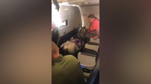 Uçağa atla bindi