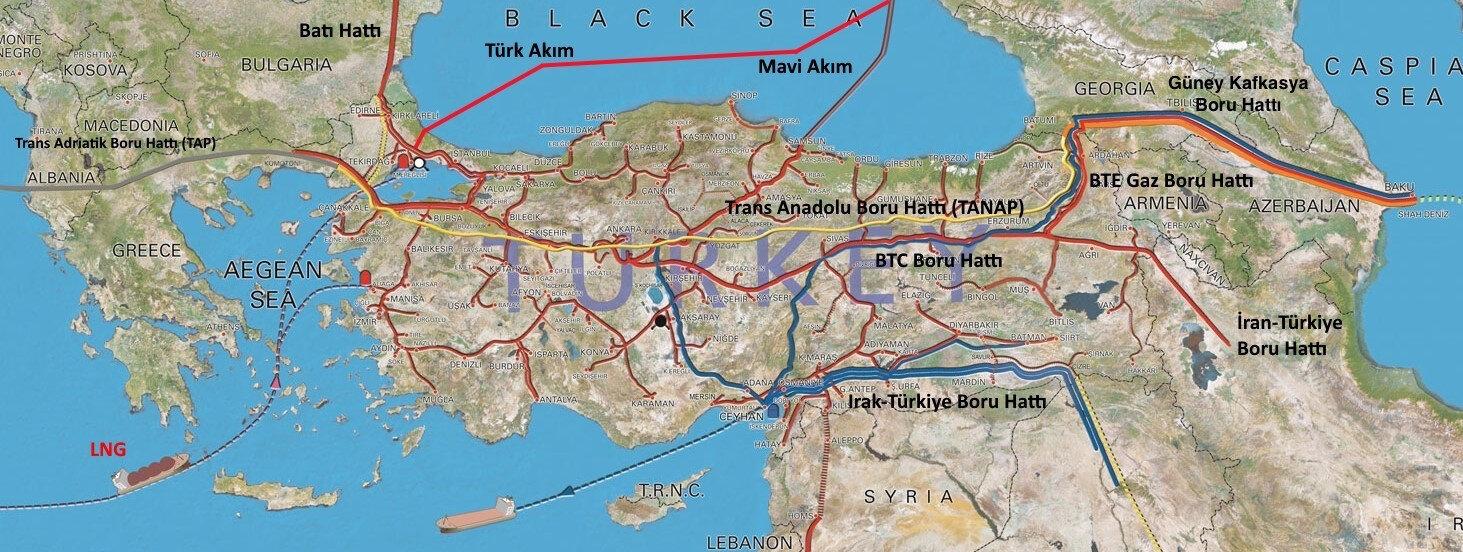 Türkiye'nin enerji ithalatı hatlarını gösteren harita.