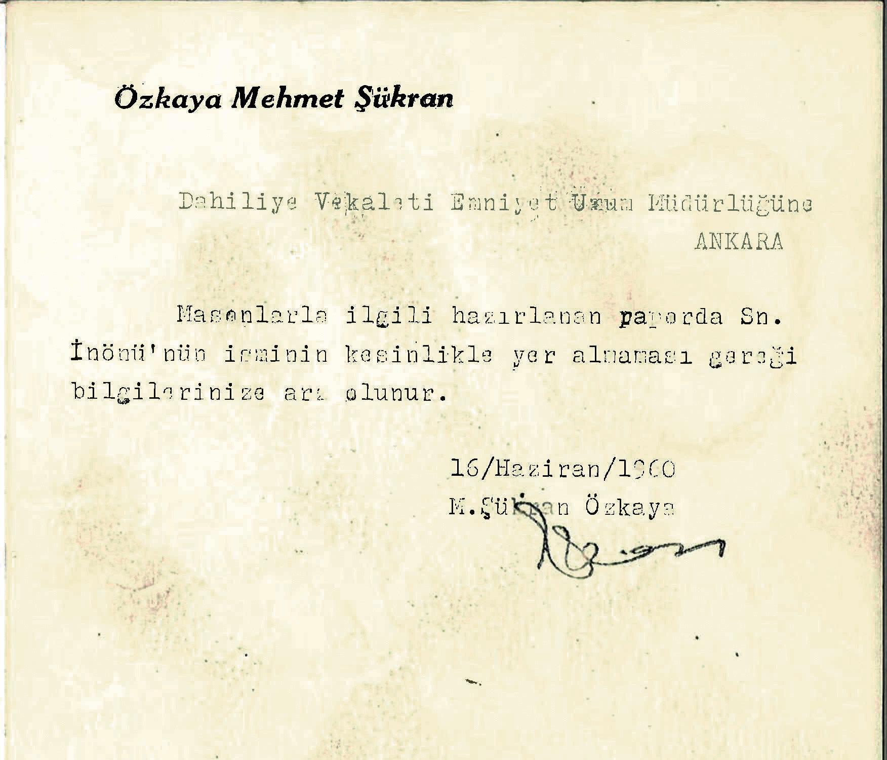 İnönü hakkında verilen talimatın belgesi