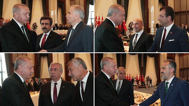 Erdoğan başkanlarla tek tek tokalaştı