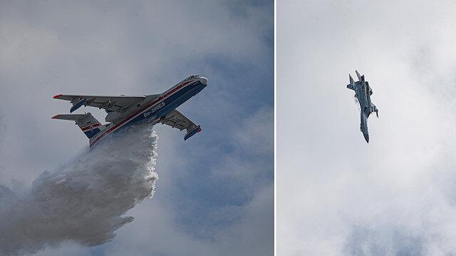 Rus uçağı Su-35 İstanbul semalarında gösteri yaptı