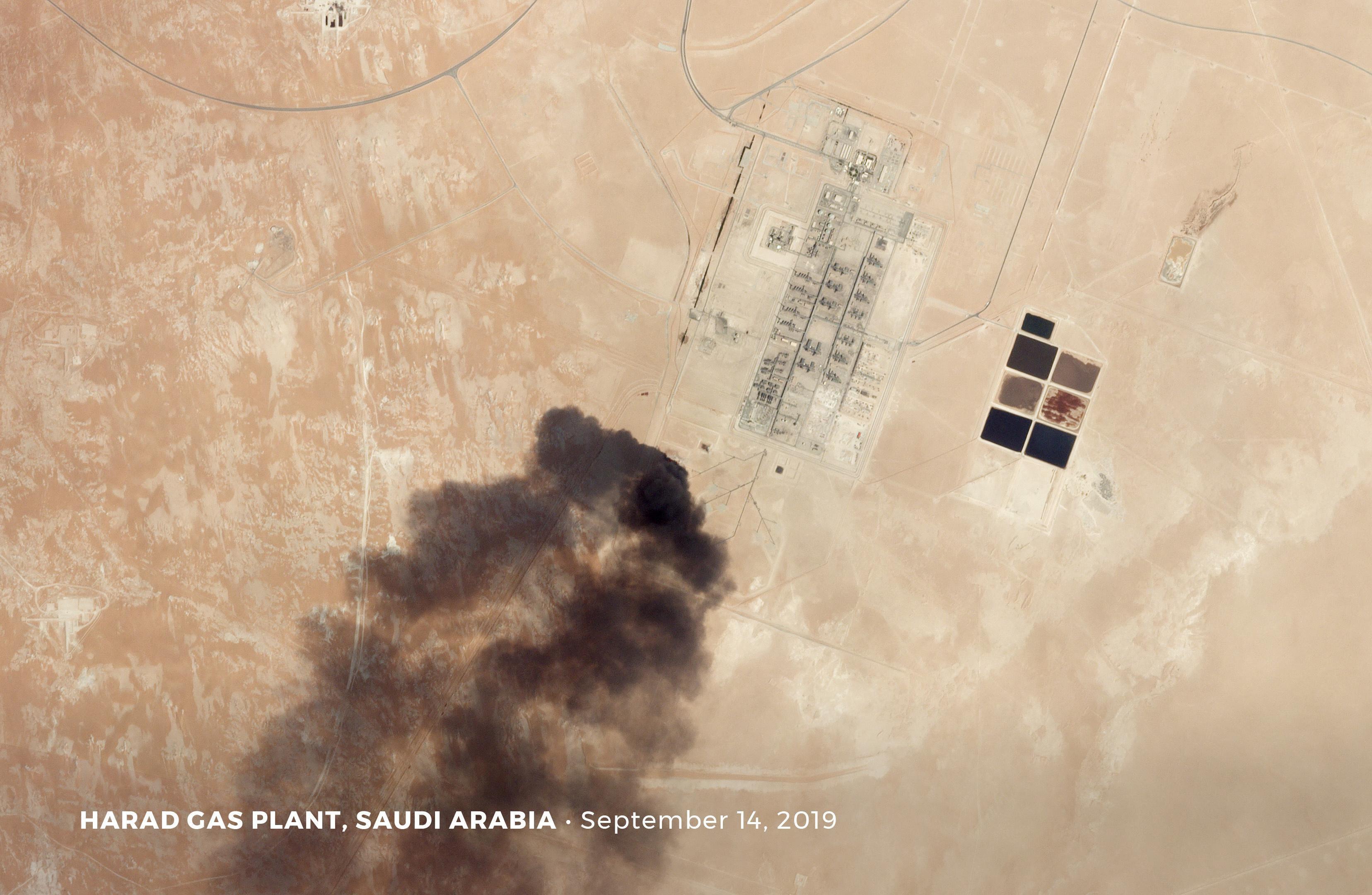 Aramco saldırısının ardından tesislerdeki hasar uzaydan görüntülendi.