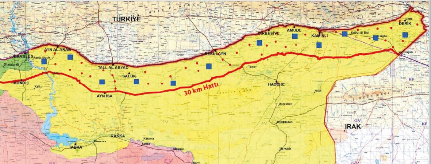 Güvenli bölge, Türkiye sınırı boyunca 480 kilometrelik hattı ve 30 kilometre derinlikteki alanı kapsıyor.