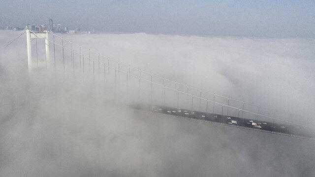 İstanbul'da sis havadan görüntülendi