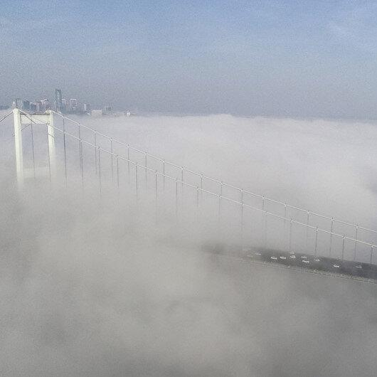 İstanbulda sis havadan görüntülendi
