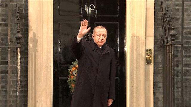 Cumhurbaşkanı Erdoğan Dörtlü Zirve'ye katılmak üzere Downing Street'e geldi