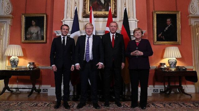 Erdoğan, Macron, Merkel ve Johnson'un bir araya geldiği 'Dörtlü Zirve'den ilk fotoğraflar