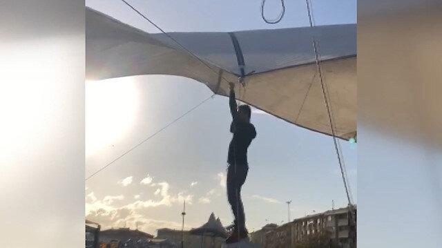 Çadırı bırakmayan pazarcı metrelerce havaya yükseldi