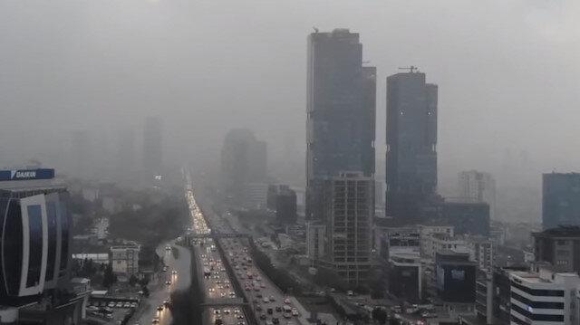 İstanbul'da sis manzarası havadan görüntülendi