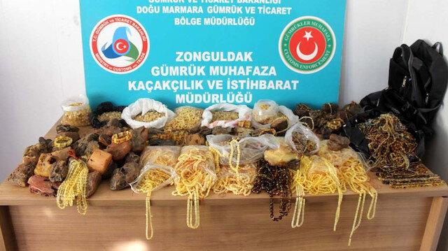 Zonguldak'ta 500 bin liralık kehribar taşı ve ürünü ele geçirildi