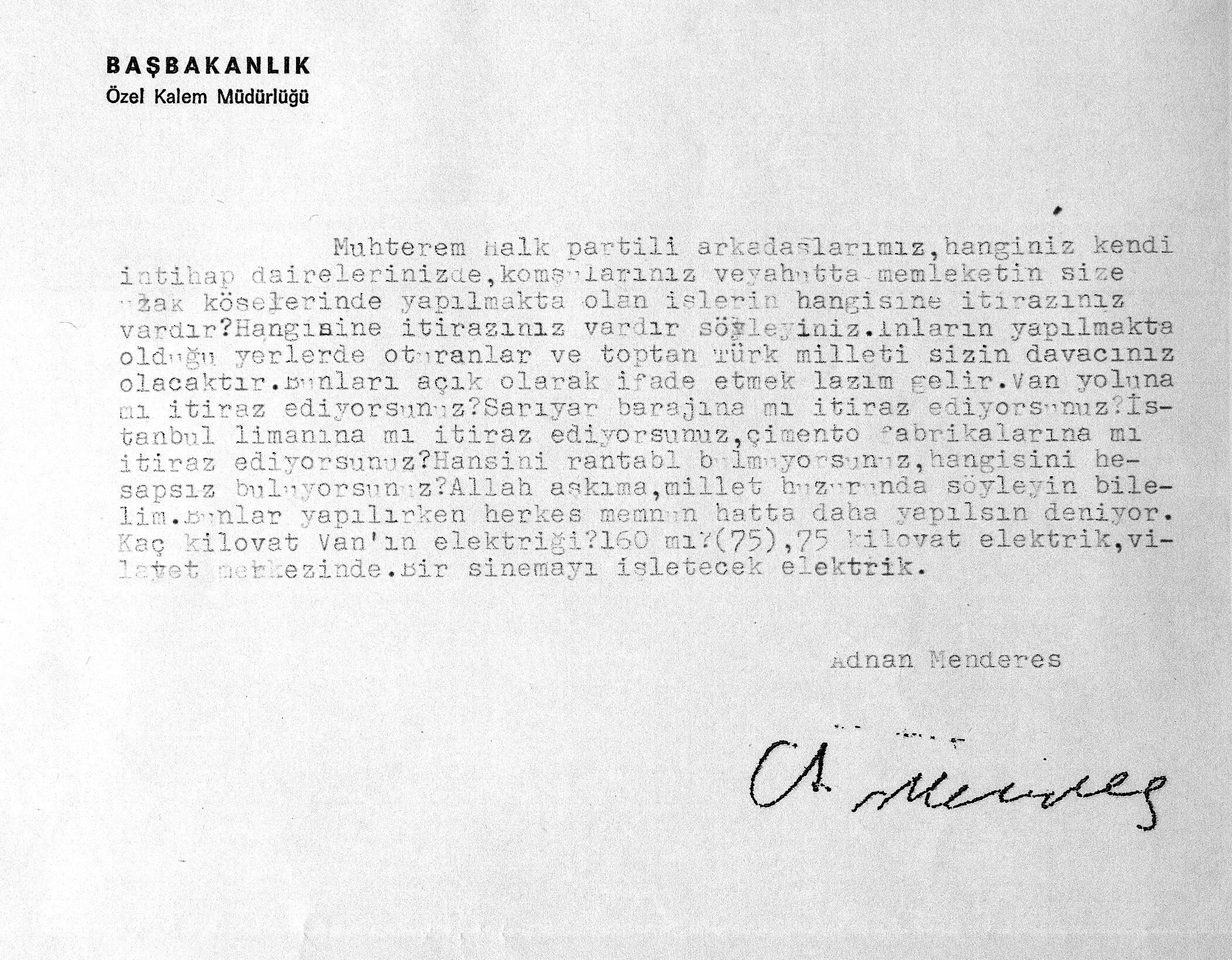 Adnan Menderes imzalı belge