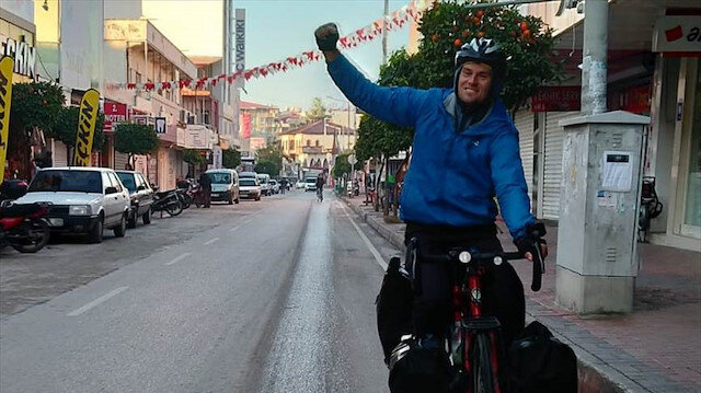 Litvanya'dan yola çıkan bisikletli Osmaniye'de mola verdi