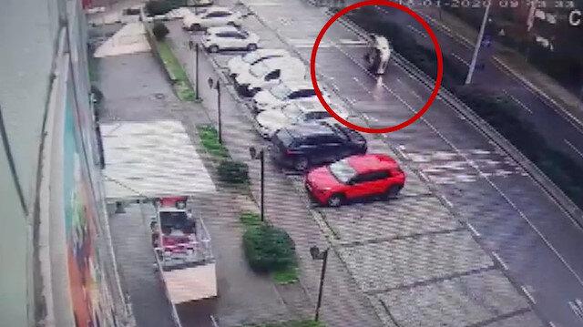 Sürücünün üzerine atlayan köpek kazaya sebep oldu
