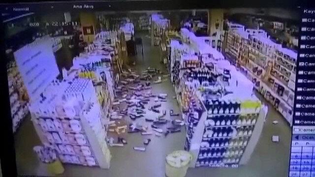 Deprem anı marketin güvenlik kamerasında