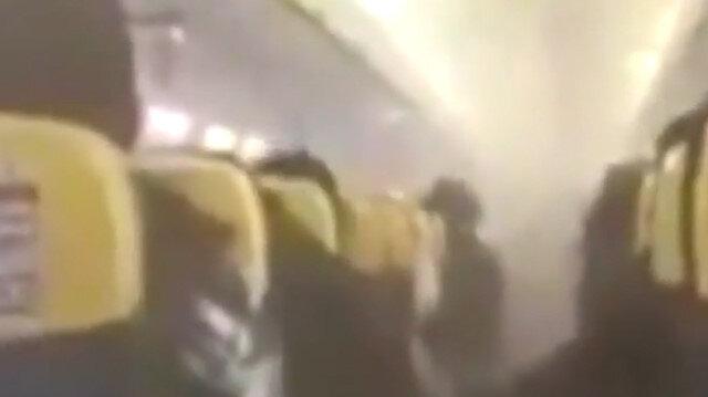 İçi dumanla dolan yolcu uçağı acil iniş yaptı
