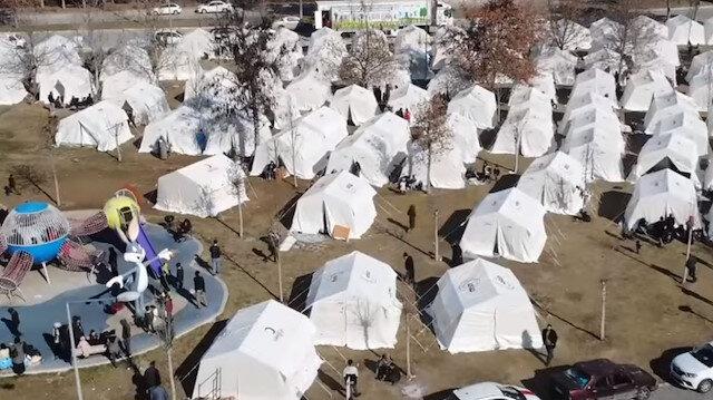 Elazığ'da kurulan çadır kentler havadan görüntülendi