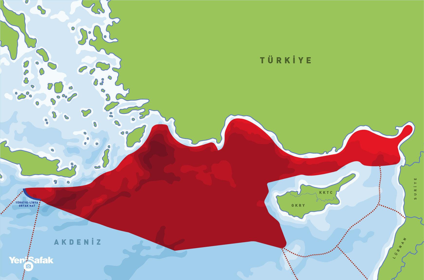 'Mavi Vatan'ın Doğu Akdeniz sınırları.