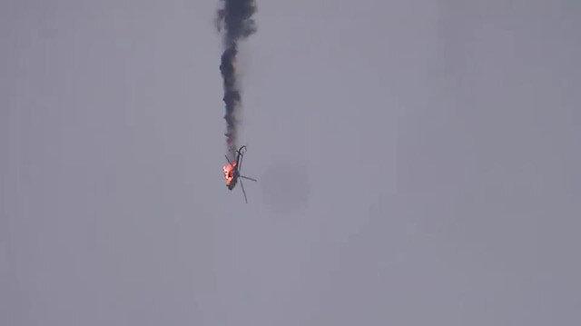 İdlib'de Esed rejimine ait helikopter düşürüldü
