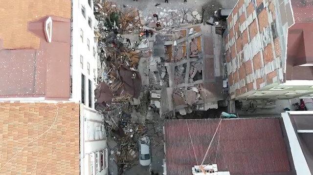 Bahçelievler'de çöken bina havadan görüntülendi