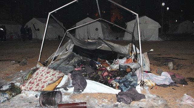 Çadır kentte yangın çıktı: 8 kişi dumandan etkilendi